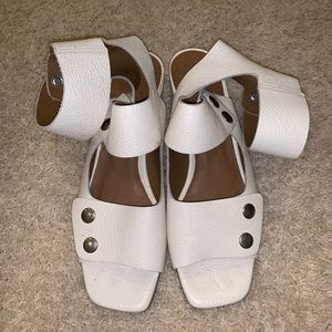 Zara white leather sandals with heel